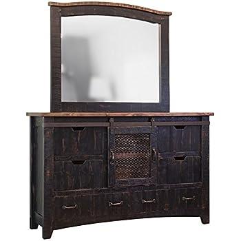 Anton Distresses Black Sliding Barn Door Dresser With Mirror
