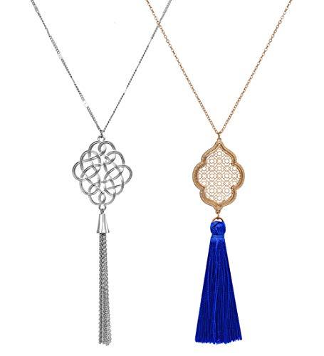 ALEXY 2Pcs Long Chain Pendant Necklace Set, ()