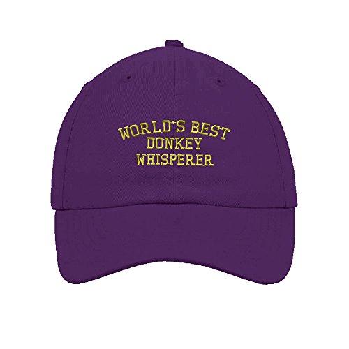 Speedy Pros Worlds Best Donkey Whisperer Embroidery Twill Cotton 6 Panel Low Profile Hat - Donkey Purple Hat