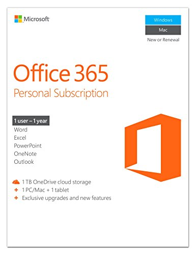 Software : Microsoft Office 365 Personal | 1-year subscription, 1 user, PC/Mac Key Card