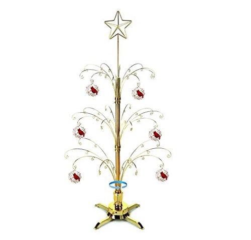 (HOHIYA Artificial Christmas Tree Rotating Metal Ornaments Stand Dog Cat Glass Ball 60 Hooks Hangers 3 to 4 Feet(Gold))