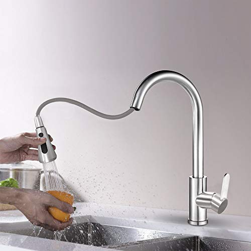 RuiLing Kitchen Sink Faucets With Pull Down Sprayer,304 Stainless Steel High Arc Brushed Nickel Water Faucet For Kitchen Sink,Single Handle 3 in 1 Pull Out Water Tap (Water Tap For Kitchen Sink)