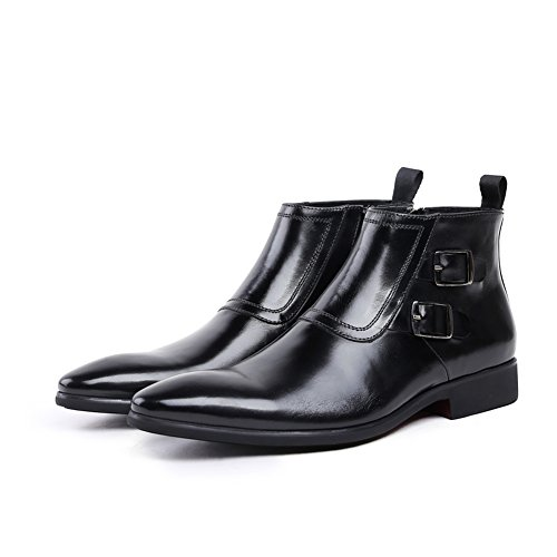 Two Low Boots Toe Heel Genuine Rubber Men's High Round Ankle Leather Black Serdaomani Sole Buckle qSx7vwfaw