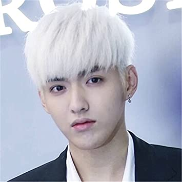 Amazon Com Wu Yifan Same Style White Wig Handsome Men With Short