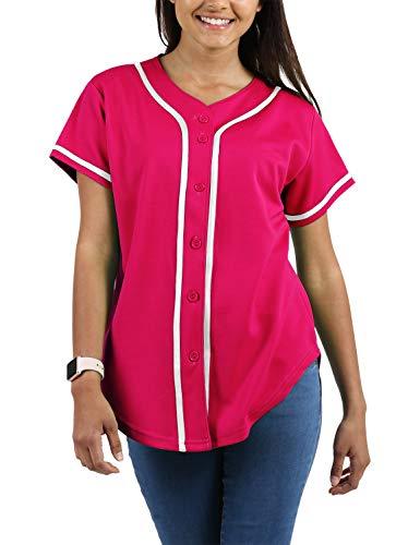 - Ma Croix Womens Premium Baseball Button Down Baseball Short Sleeve Tee Active Softball Jersey (X-Large, 3up01_Hot Pink/White)