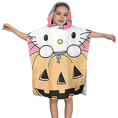Lbbb Unisex Hello Kitty and Pumpkin Lantern Hooded Bath Towels for Babies, Toddlers and Kids - Hypoallergenic,Perfect for Boys and Girls,One Size - Hello Kitty Pumpkin