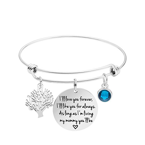 Awegift Mommy Gift from Children Mother's Day Jewelry from Daughter Son Expandable Bangle I'll Love You Forever, I'll Like You for Always, As Long as I'm Living My Mommy You'll ()