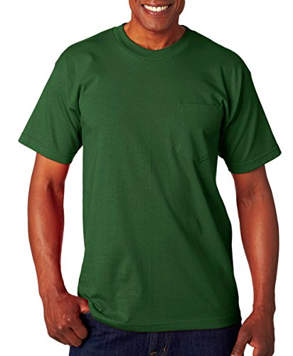 Bayside Men's Classic Style Heavyweight Pocket T-Shirt, Forest Green, L ()