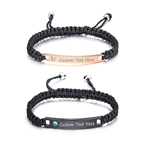 XUANPAI Free Custom Personalized Engraving His and Hers Adjustable Handmade Braided Rope Matching Couples Distance Promise ID Bracelets Set Anniversary Personalized Gifts for Him and Her Couples