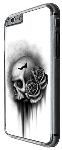 1515 - Cool Fun Trendy Cute floral skull tattoo biker sugar skull Design iphone 5 5S Coque Fashion Trend Case Coque Protection Cover plastique et métal - Clear