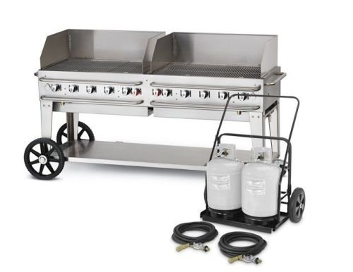 Crown Verity CV-RCB-72-RDP 72'' Pro Series Liquid Propane Grill with 159000 BTU Capacity Role Dome Adjustable Bun Rack Two 14'' Wheels Two Total Casters in Stainless