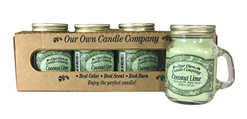 Our Own Candle Company Coconut Lime Scented Mini Mason Jar Candle, 3.5 Ounce (4 Pack)
