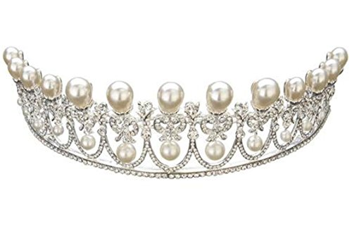 Wiipu Luxury Silver Bridal Tiaras Pearls Rhinestone Crystal Wedding Crown(A1073) ()