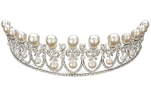 Wiipu Luxury Silver Bridal Tiaras Pearls Rhinestone Crystal Wedding Crown(A1073)