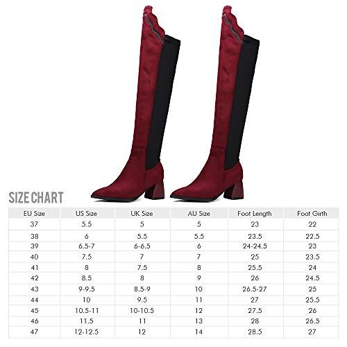 Rosegal Classique Rouge Mode Femme Botte Chaussure Talon Cavalier Bloc Vin Bottine Cuissarde Longue qwrFqR