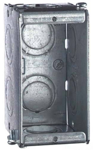 Thomas & Betts GW125-G Steel Screw-On Mount 1-Gang Gangable Masonry Box 1-15/16 Inch x 3-3/4 Inch x 2-1/2 Inch Steel City