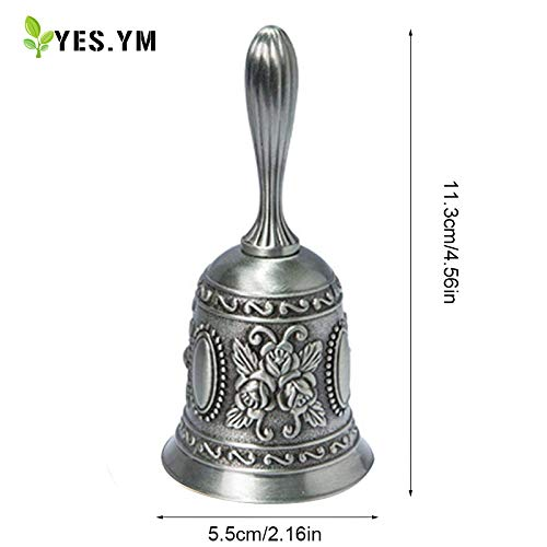 YES.YM Hand Call Bell Multi-Purpose Hand Bell for Wedding Decoration,Alarm,School Church Classroom,Bar (Silver) by YES.YM (Image #7)