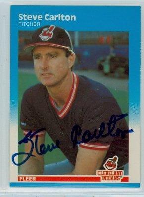 Steve Carlton AUTOGRAPH 1987 Fleer UPDATE #17 Cleveland - Autograph Carlton Steve
