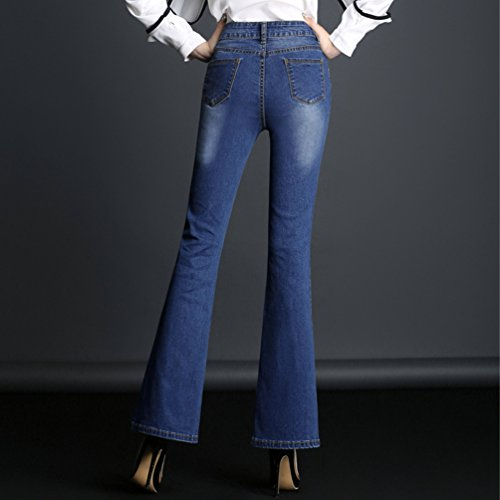 Jitong Skinny A Jeans Denim Fit Pantaloni Blu Scuro Donna Flared Palazzo Zampa Trousers Slim Pants rPZWrzqn
