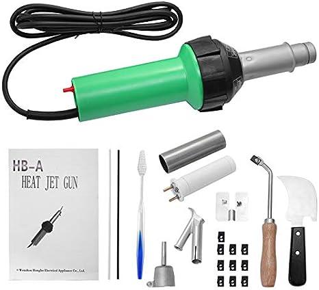 PaNt 1600W plástico de aire caliente Soldador Pistola agarradera Rod pistola Plastic Hot Air Welder Gun con boquilla de soldadura rápida,núcleo de calentamiento,varillas de plástico PE/PVC