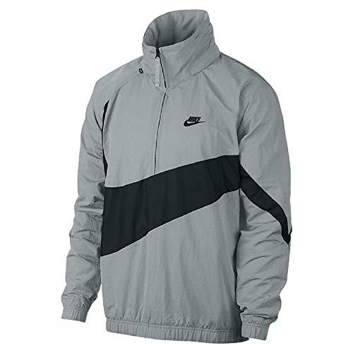 (Nike Sportswear Men's Hybrid Swoosh Anorak 1/4 Zip Jacket Hoodie (Size: Large) AJ1404-012 Silver)