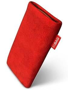 fitBAG Folk Rojo - Funda a medida, Exterior de cuero de gamuza fina, con forro interno de microfibra,para NOKIA 6216 classic