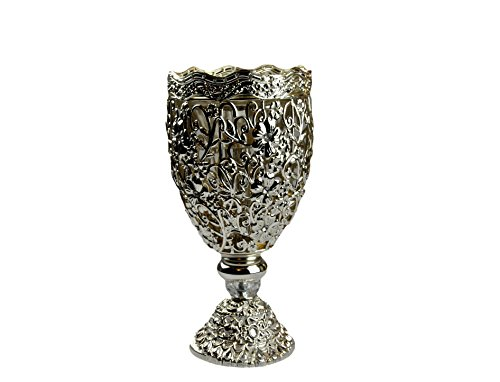 (Arabia Incense /Bakhoor Burner (Mabkhara) -Oud Burner, SILVER Metal,Tray Inside 10 inch. - USA seller)