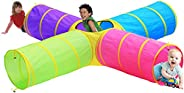 Hide N Side Kids Play Tunnels, Indoor Outdoor Crawl Through Tunnel for Kids Dog Toddler Babies Children , Pop up Tunnel Gift