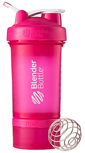 BlenderBottle ProStak System with 22-Ounce Bottle and Twist n' Lock Storage, Pink/Pink