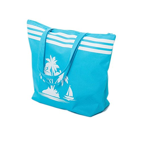 Price comparison product image Beach Bags Womens Girls Large Canvas Summer Tote Bag Palm tree Pattern (Blue)