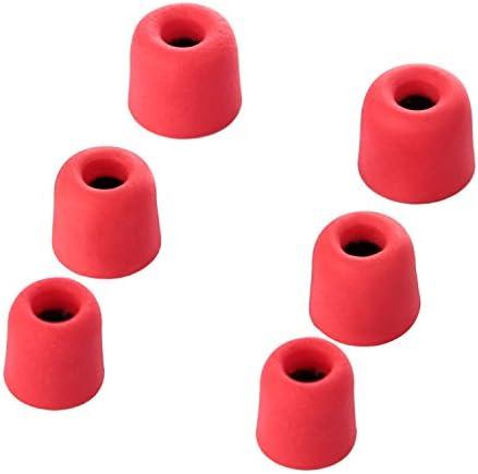 OBEST シリコンインナーイヤー メモリインナーイヤー イヤーピース イヤホンチップ 円錐形 シリコン製 黒 赤 12個セット