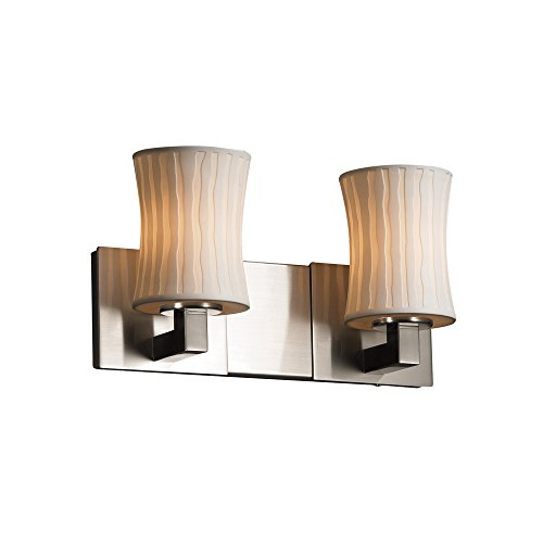 Justice Design Group Limoges 2-Light Bath Bar - Brushed Nickel Finish with Waterfall Translucent Porcelain Shade