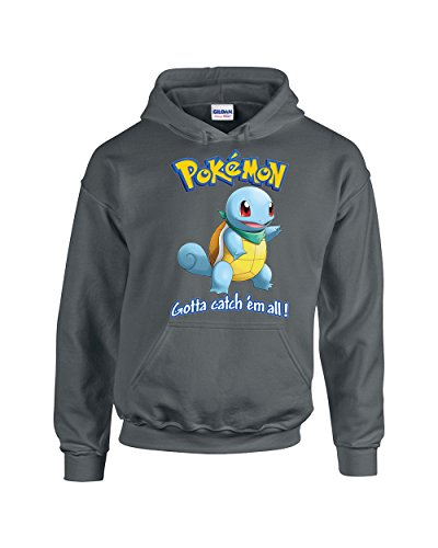 Pokemon Squirtle Gotta Catch 'em All! Popular Unisex Pullover Hoodie Hooded Sweatshirt(Charcoal,Large)