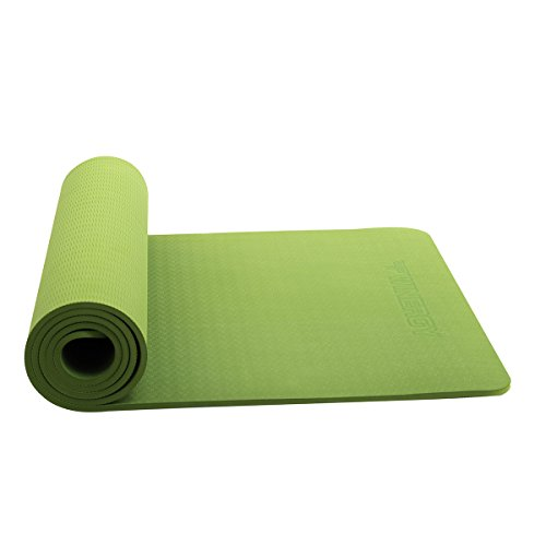 Joymoze 1/3-Inch Extra Thick 72-Inch Long High Density TPE Exercise Yoga Mat with Carrying Straps (Green)