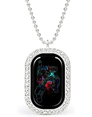 Shadow of Optimus Prime Spray Art TRAN-SFORMERS white necklace Christmas Jewelry Gifts Birthday Gifts for ladies and girls with square pendant