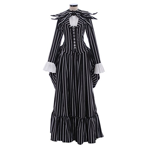 CosplayDiy Women's Halloween Medieval Renaissance Black&White Stripe Cosplay Costume XXL