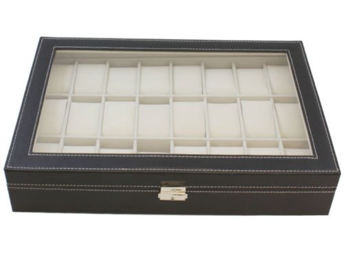 Generic YC-US2-160128-55 <8&2951*1> ganizerh Display C Display Case Glass Large Black Leather Top Jewelry 24 Grid Watch Box Organizer Large Black by Generic