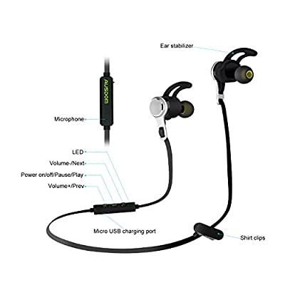 Bluetooth Headphones, Ausdom SM199 Stereo Wireless Earphones for Running with Mic (9 Hours Play Time, Bluetooth 4.1, Secure Ear Hooks Design)
