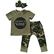 Younger star Baby Girls Camouflage Printed T-Shirt and Long Pants Outfit 3pc Set (0-6 Months, Short Sleeve)