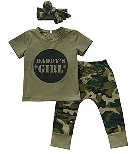 Younger star Baby Girls Camouflage Printed T-Shirt and Long Pants Outfit 2pc Set (6-12 Months, Short (Cute Camo Clothes)