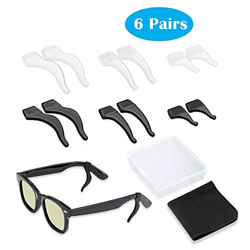 6 Pairs Anti Slip Silicone Glasses Retainer, 3 Sizes Sunglasses Ear Grips for Kids and Adults Sport Glasses