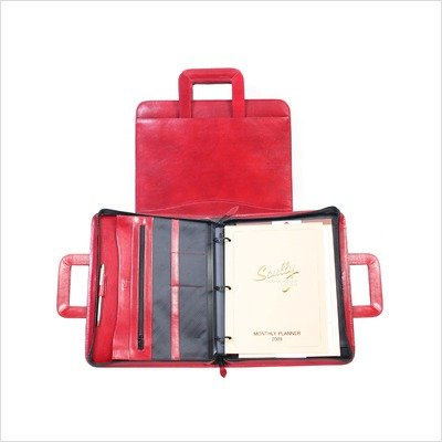 Italian Leather Zip Binder With Drop Handles Color: Plum