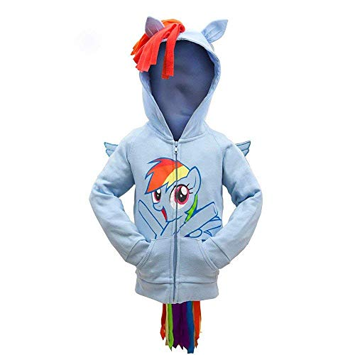 (My Little Pony Hoodie Rainbow Dash Face Kids Sky Blue Costume)