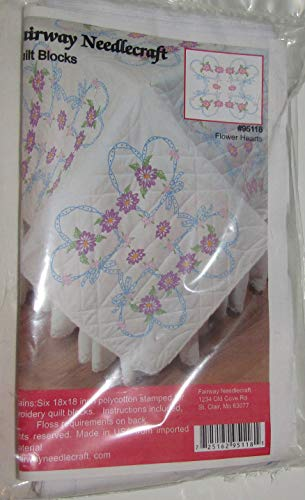 "Flower Hearts Quilt Blocks Six 18""x18"" Polycotton Stamped Fairway Needlecraft"