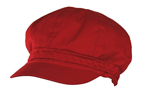 Folie Co. Red Spring & Summer Cotton Cabbie Hat w/Braided Band – newsboy IVY Cap (Red Newsboy Hats)