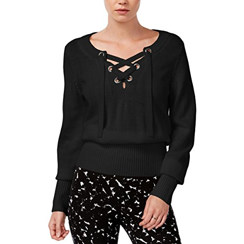 Cheap Bar III Womens Ribbed Trim Lace-Up Neck Pullover Sweater free shipping