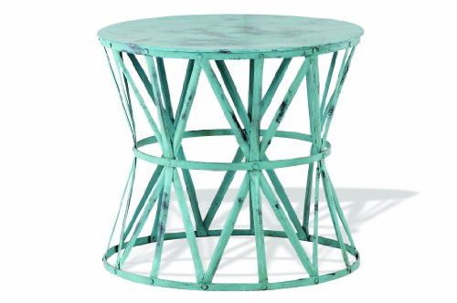 Painted Metal Accent Table in Seafoam Green