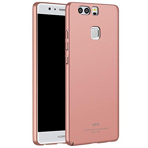 Rose Gold PC Kunststoff Hülle Schutzhülle Case + Displayschutzfolie für Huawei P9 5.2-inch Vooway® MS70052