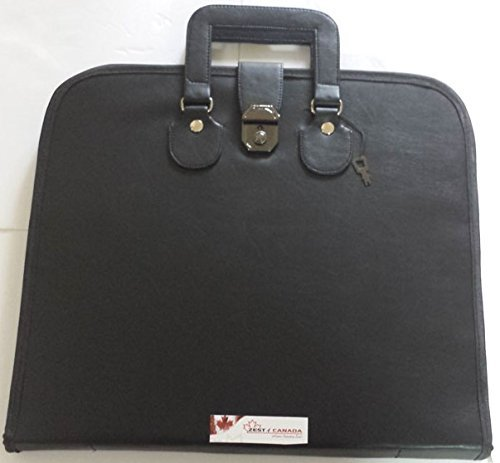 Masonic Regalia Smart File Case For MM/WM Apron with Soft Handle in Black Leather