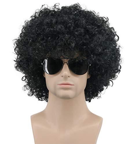 Karlery Mens Women Short Curly Black Green Colorful Rocker Wig California Halloween Cosplay Wig Anime Costume Party Wig (Black)